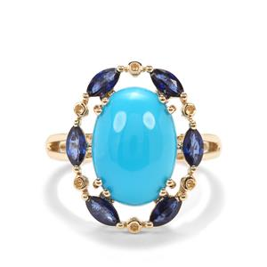 Sleeping Beauty Turquoise Ring with Sri Lankan Sapphire in 14K Gold 6.36cts