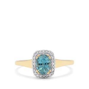 Ratanakiri Blue Zircon & Diamond 9K Gold Ring ATGW 1.40cts