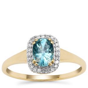 Ratanakiri Blue Zircon Ring with Diamond in 9K Gold 1.40cts