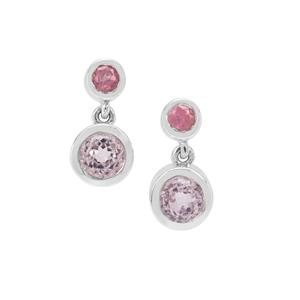 Brazilian Kunzite Earrings with Mozambique Pink Spinel in Sterling Silver 1.75cts