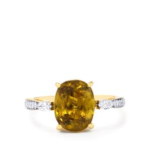 Ambilobe Sphene Ring with White Diamond in 18k Gold 3.60cts