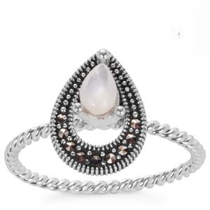 Natural Marcasite & Mother of Pearl Sterling Silver Jewels of Valais Ring