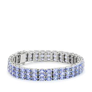 22.47ct AA Tanzanite Platinum Plated Sterling Silver Bracelet