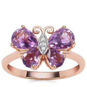 Moroccan Amethyst Butterfly Design Ring with White Zircon in Rose Gold Plated Sterling Silver 1.85cts