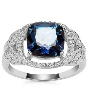 Hope Topaz Ring with White Zircon in Sterling Silver 4cts