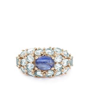 Himalayan Kyanite & Espirito Santo Aquamarine Gold Plated Sterling Silver Ring ATGW 4.58cts
