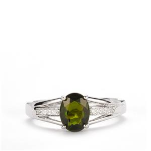 Chrome Diopside Ring with White Topaz in Sterling Silver 1.52cts