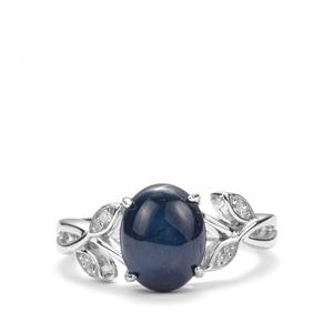 Madagascan Blue Star Sapphire Ring with White Topaz in Sterling Silver 3.73cts