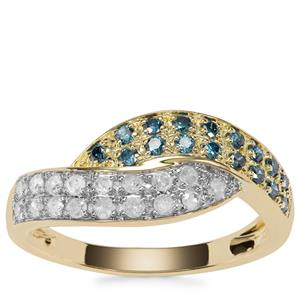 Blue Diamond Ring with White Diamond in 9k Gold 0.50ct