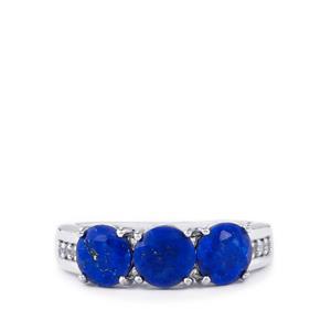 Sar-i-Sang Lapis Lazuli & White Topaz Sterling Silver Ring ATGW 2.44cts