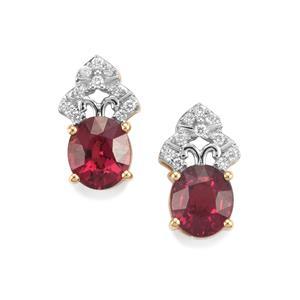 Malawi Garnet Earrings with Diamond in 18K Gold 2.98cts