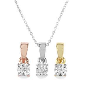 Diamond Three Tone Midas Halo Diamonds Pendant Necklace
