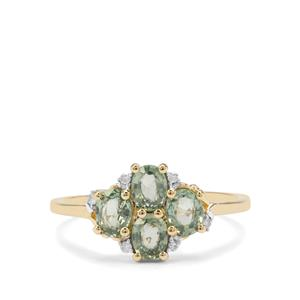 Green Sapphire Ring with Diamond in 9K Gold 1.33cts