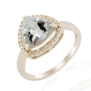 Idar Aquamarine Ring with Diamond in 9k White Gold 2.19cts