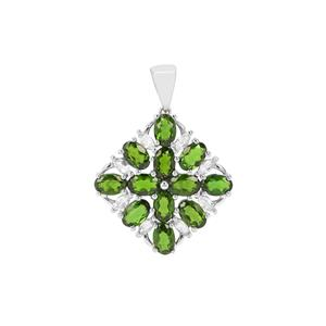 Chrome Diopside & White Topaz Sterling Silver Pendant ATGW 6.53cts