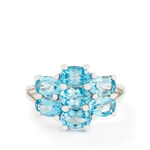 4.00ct Electric Blue Topaz Sterling Silver Ring