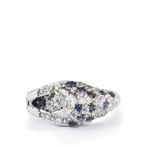 Tsavorite Garnet, Blue Sapphire & White Zircon Sterling Silver Ring ATGW 1.87cts
