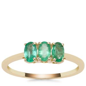 Zambian Emerald Ring in 9K Gold 0.63cts