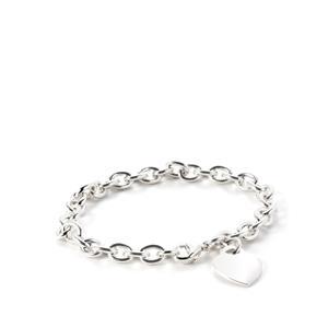 """7.5"""" Sterling Silver Heart Belcher Bracelet"""