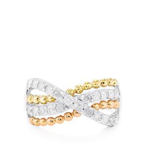 Diamond Ring in 10K Three Tone Gold 0.76ct
