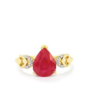 Mozambique Ruby Ring with Diamond in 9K Gold 2.79cts