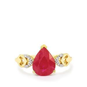 Mozambique Ruby & Diamond 10K Gold Ring ATGW 2.79cts