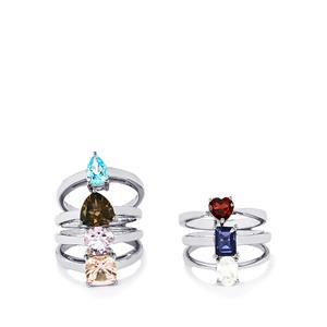 8.02ct Kaleidoscope Gems Sterling Silver Set of 7 Rings