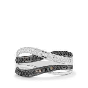 1/20ct Champagne, Black & White Diamond Sterling Silver Ring
