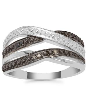 Champagne, Black Diamond Ring with White Diamond in Sterling Silver 0.05ct