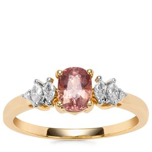 Padparadscha Sapphire Ring with Diamond in 18K Gold 1.07cts