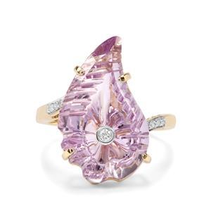 Lehrer Flame Rose De France Amethyst & Diamond 9K Gold Ring ATGW 7.86cts