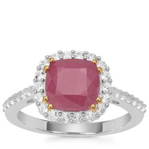 Bharat Ruby Ring with White Topaz in Sterling Silver 3.70cts