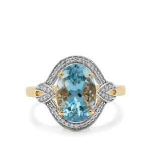 Nigerian Aquamarine Ring with Diamond in 18K Gold 3.50cts