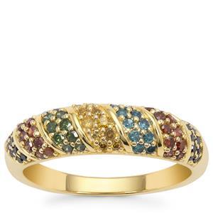 Multi-Colour Diamond Ring in 9K Gold 0.50ct