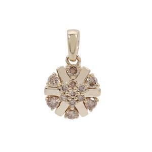 Champagne Argyle Diamond Pendant in 9K Gold 0.34ct