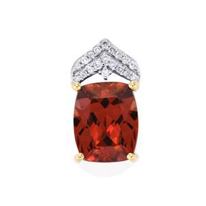 Zanzibar Zircon Pendant with Diamond in 18k Gold 5.54cts