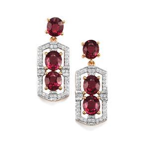 Malawi Garnet Earrings with Diamond in 18K Gold 9.05cts