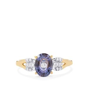 Lehrer TorusRing AA Tanzanite Ring with Diamond in 18K Gold 1.18cts