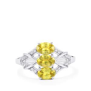 Ambilobe Sphene & Diamond 14K White Gold Ring ATGW 1.55cts