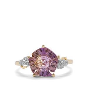 Lehrer QuasarCut Anahi Ametrine Ring with Diamond in 10K Gold 2.96cts