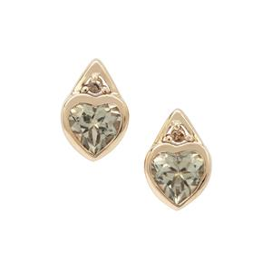 Csarite® Earrings with Champagne Diamond in 9K Gold 1.60cts