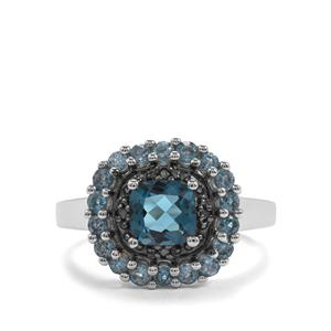 Marambaia London BlueTopaz & Blue Diamond Sterling Silver Ring ATGW 2.08cts