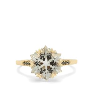 Wobito Snowflake Cut Prasiolite & Green Diamond 9K Gold Ring ATGW 4.20cts