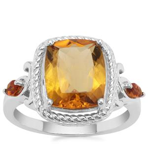 Golden Tanzanian Scapolite Ring with Diamantina Citrine in Sterling Silver 3.67cts