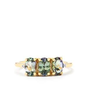 Bi-Colour Tanzanite & Diamond 10K Gold Ring ATGW 1.78ct