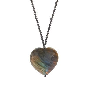 Black Spinel Necklace with Labradorite in Sterling Silver 90.15cts