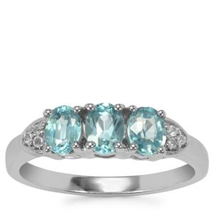 Ratanakiri Blue Zircon Ring with White Zircon in Sterling Silver 1.88cts