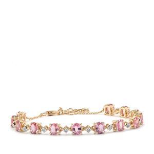 Sakaraha Pink Sapphire & Diamond 10K Gold Tomas Rae Bracelet ATGW 5.37cts