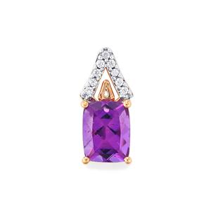 Moroccan Amethyst Pendant with White Zircon in 10k Rose Gold 2.12cts