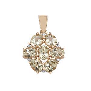 Csarite® & Diamond 10K Gold Pendant ATGW 2.62cts